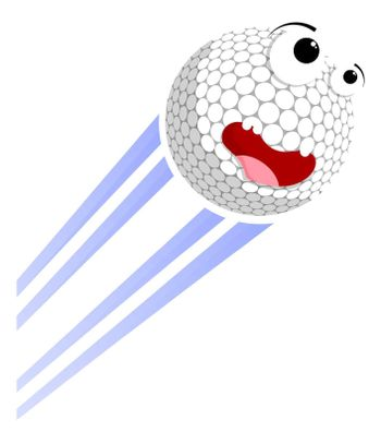 Loud funny crazy golf sport ball flies with great speed after great hit. Sport equipment. Vector