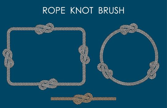 rope sea knot made of double rope. Rope for fastening on ships. Element for design and decoration. Vector