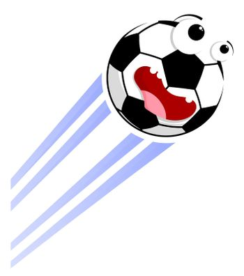 Loud funny crazy football, soccer ball flies with great speed after great hit. Sport equipment. Vector