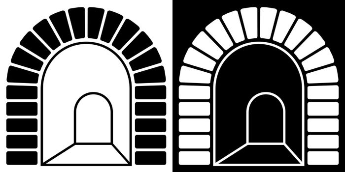 arched tunnel entrance icon. Path into unknown, overcoming fears and obstacles. Vector