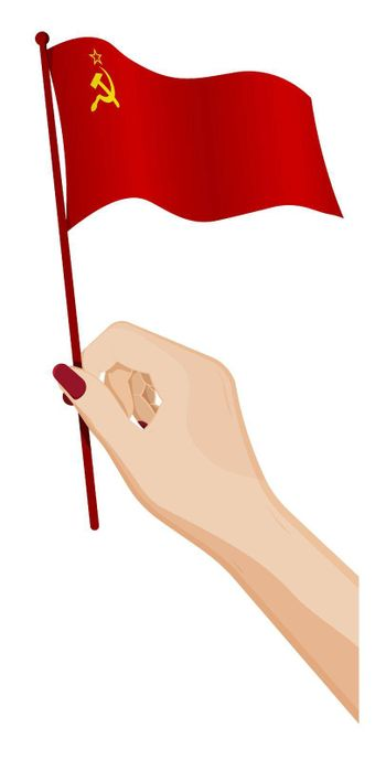 Female hand gently holds small Soviet Union flag, USSR. Holiday design element. Cartoon vector on white background