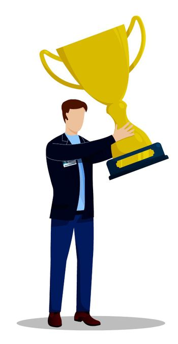 man holding gold cup. Best employee, career success at work. Award for hard work of quality. Vector