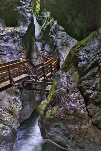 Wooden path inside a canyon