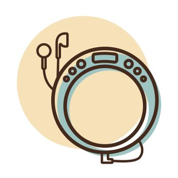 Portable CD player with earphone vector icon