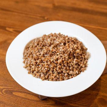 Tasty buckwheat meat close up