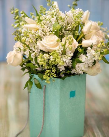 Beautiful white flower bouquet in the box close up