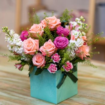 Beautiful flower bouquet in the box