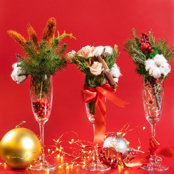Christmas glass decor on the red background