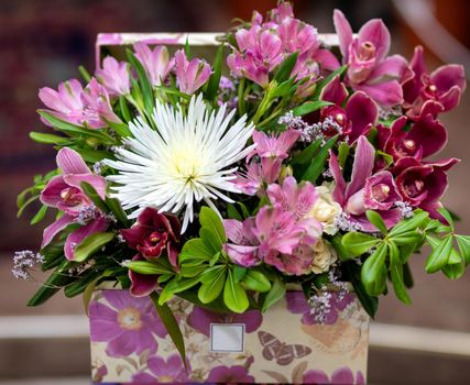 Beautiful pink bouquet flower in the box