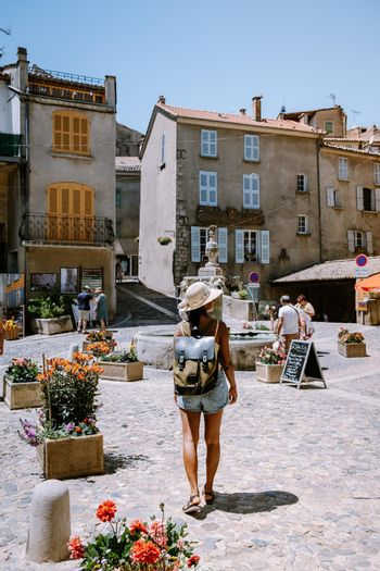 Valensole Provence France June 2020, streets of the colorful village of Valensole during summer. Europe
