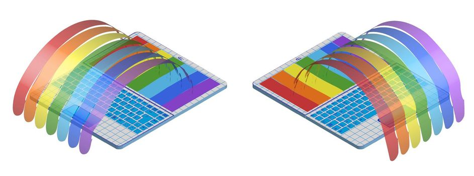 Rainbow poured out of an open portable school notebook in an open form. Isolated vector on white background