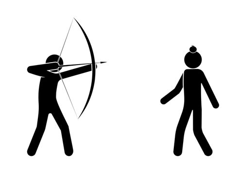 archer aims at an apple standing on a person head. Shooter athlete, dangerous stunt, amusement. Isolated vector on white background