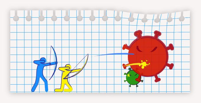People archers shoot viruses and bacteria with colorful arrows. Fighting the disease, preventing infection. Funny illustration, imitation of ink drawing on a squared notebook sheet