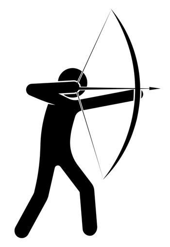 man, an archer aims at a target, prey on the hunt. Shooter athlete. Isolated vector on white background