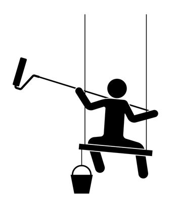 man paints a wall with a roller on a long handle. Sits on a board, high-altitude work. Isolated vector on white background