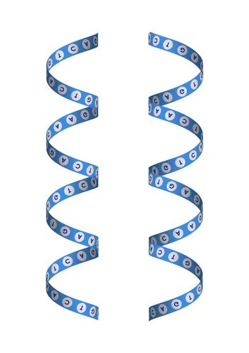 DNA spiral with ribbon letters. Isolated vector on white background