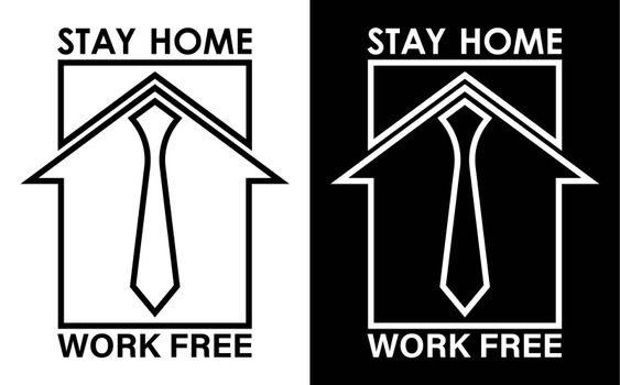 original logo, icon. Remote work from home during quarantine, stay home. Free work, home business. Isolated vector on white background