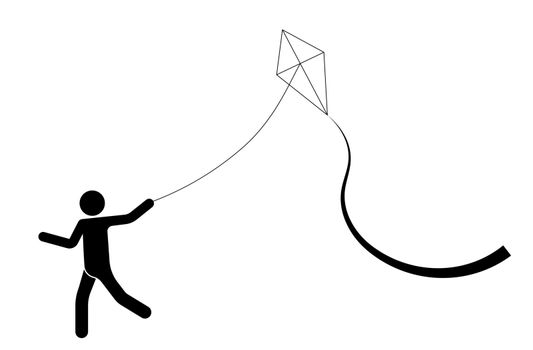 man runs controls a kite. Summer games. Isolated vector on white background