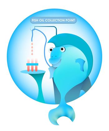 illustration. Merry blue fish gives out fish oil at the reception. Vitamins, Health Benefits. Vector