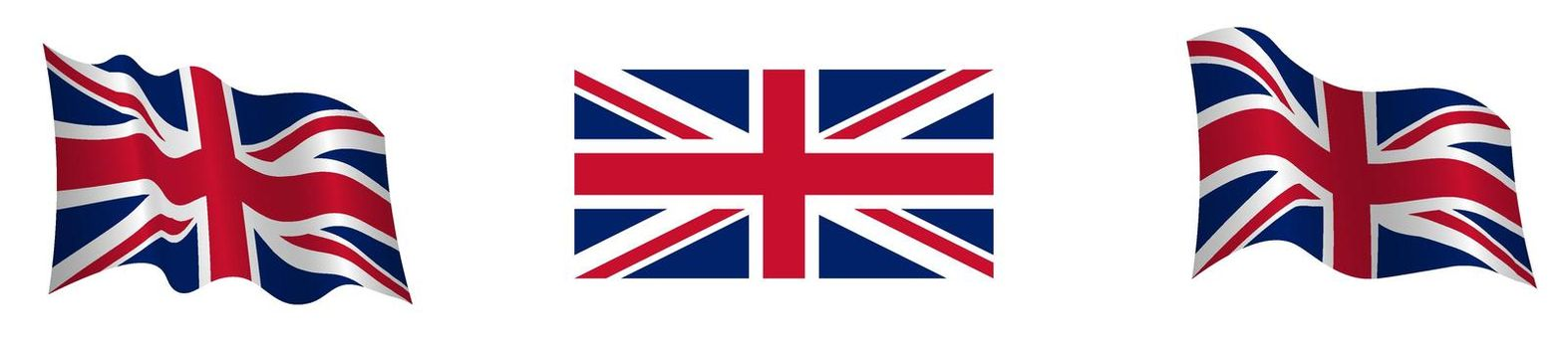 Flag of the United Kingdom of Great Britain and Northern Ireland in a static position and in motion, developing in the wind, on a transparent background