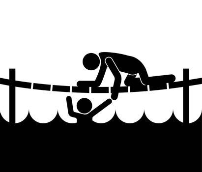 man rescues a drowning man in a river. He reaches out to pull it out of the water. Isolated vector on white background