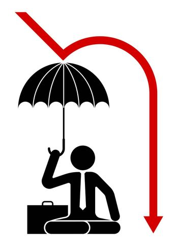 Icon, a man sits under an umbrella protected from falling prices. Protecting a business during a crisis. Isolated vector on white background