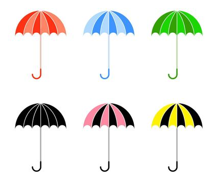 Bright colorful umbrellas in a flat style. Isolated vector on white background