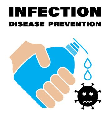 colored sign, hand holds a bottle, a tube of liquid soap. Drops drip onto the virus. Disinfection and prevention of infection by bacteria and viruses. Vector on a white background