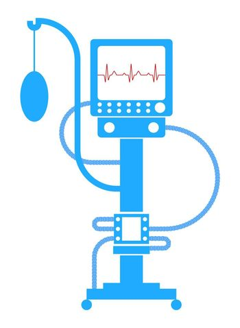 artificial lung ventilation device. Icon in linear blue style. Isolated vector