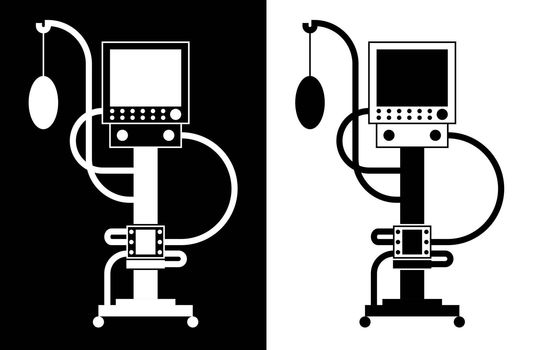 artificial lung ventilation device. Icon in linear black and white style. Isolated vector