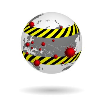 spread of the virus on the planet, global quarantine, globe on a transparent background