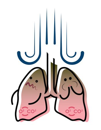 illustration, smokers lungs, nausea and vomiting, feeling sick. Prevention of respiratory disease. Isolated vector