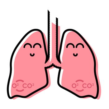 Healthy human lungs funny icon in sketchy linear style. Isolated vector on white background
