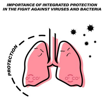 colored icon, protection of the lungs and respiratory organs from bacteria and viruses. The importance of disease prevention. Isolated vector on white background