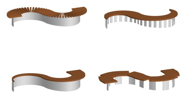 isometric 3d vector, set of original semicircular park and garden benches on a transparent background