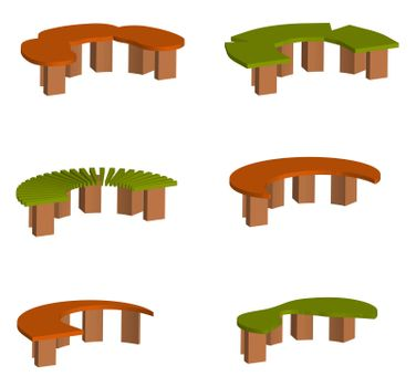 isometric 3d vector, set of original multi-colored park and garden benches on a transparent background