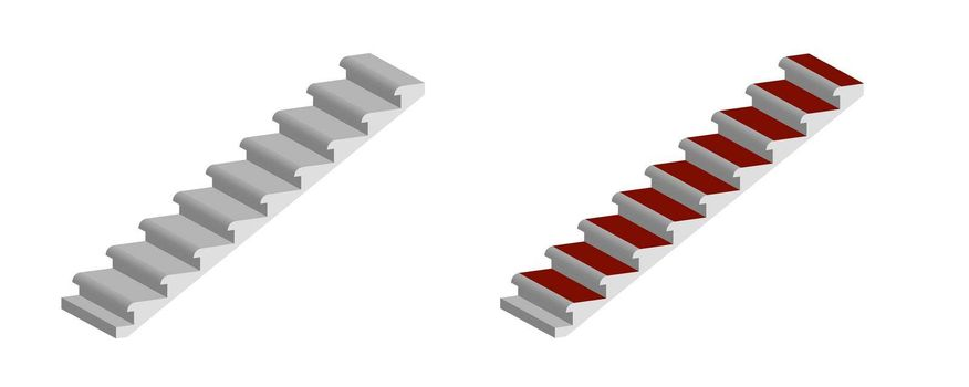 high-rise building staircase isolated on transparent background, isometric