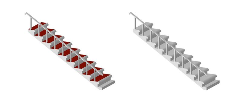 staircase of a multi-storey building with pyrils isolated on a transparent background, isometric