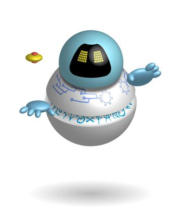 round robot guide, a smart assistant floating in the air. Technologies of the future. Isolated vector on white background