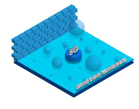 5G isometry. Advantages of new technologies, secure cloud technology. Strong network signal. Vector on a white background