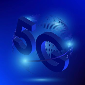 5G sign on the background of the digital style globe. The new standard for internet connectivity. High speed global network on blue background