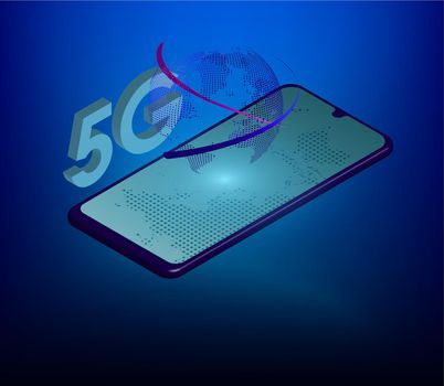 5G sign on the background of the globe and a smartphone in digital style. The new standard for internet connectivity. High speed network global network on blue background