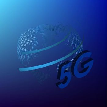 5G sign on a background of the globe in digital style. The new standard for internet connectivity. High speed network global network on blue background