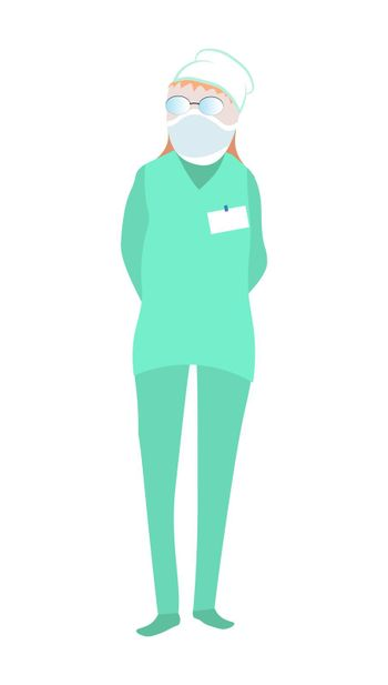 female doctor, nurse. Professional in a flat style. Isolated vector on white background
