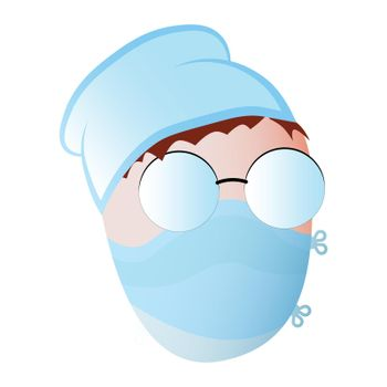 face of a doctor in a medical protective mask, glasses and a cap. Isolated vector on white background