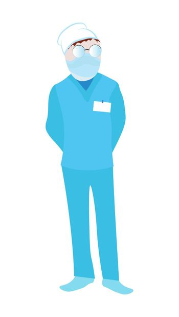male doctor, orderly. Professional in a flat style. Isolated vector on white background