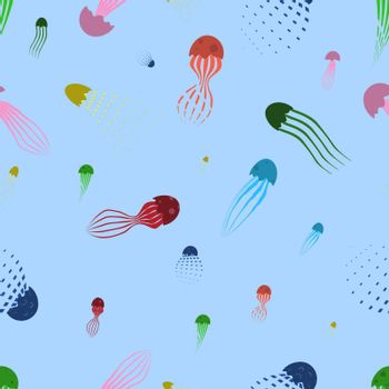 Seamless pattern of colored jellyfish, sea inhabitants. Vector on a blue background