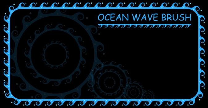 Brush and ornament elements ocean waves for smooth and rounded elements. Minimalistic pattern on a white background