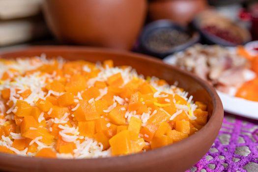 Pumpkin rice pilaf meal close up
