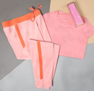Pink color woman sport wear top view